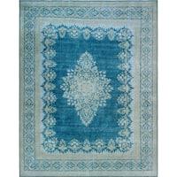 Noori Rug Fine Vintage Distressed Iverem Blue/Grey Rug - 10'1 x 13'1