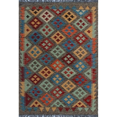 Noori Rug Sangat Kilim Jake Orange/Brown Rug - 2'11 x 4'5