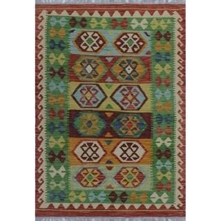 Noori Rug Sangat Kilim Terrence Burgundy/Gold Rug - 3'6 x 4'10
