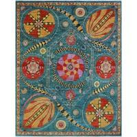 Noori Rug Aria Handmade Fine Chobi Gyasi Blue/Red Wool Area Rug (8' x 10'2)