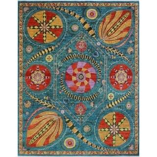 Noori Rug Aria Fine Chobi Gyasi Blue/Red Rug - 8'0 x 10'2