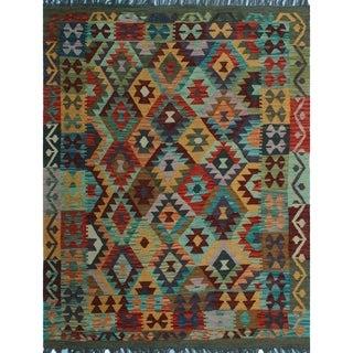 Sangat Kilim Mwanawa Rust/Grey Rug (4'5 x 5'9)