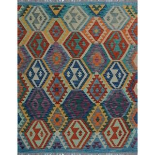 Sangat Kilim Kasiya Purple/Blue Rug (5'0 x 6'8)