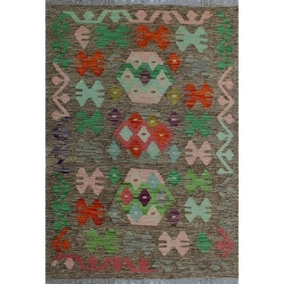 Sangat Kilim Obioma Brown/Pink Rug (2'8 x 3'11)