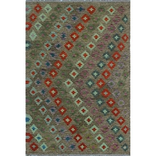 Noori Rug Sangat Kilim Harry Brown/Red Rug - 3'3 X 4'11