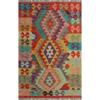 Sangat Kilim Akinlabi Ivory/Purple Rug (2'10 x 4'3)
