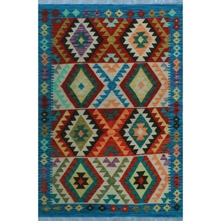 Sangat Kilim Arabella Blue/Red Rug (3'3 x 5'2)