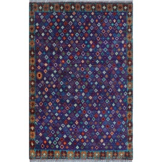 Noori Rug Balochi Adelola Purple/Rust Rug - 3'4 x 4'11