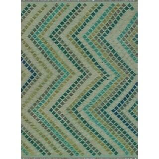 Sangat Kilim Junior Green/Blue Rug (5'2 x 6'11)