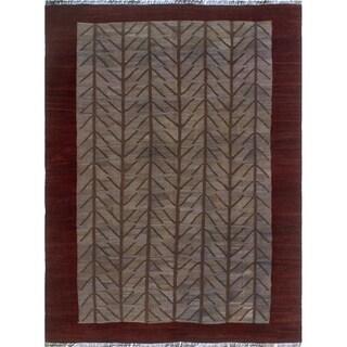 Overdyed Kilim Obasi Grey/Burgundy Rug (6'6 x 8'9)