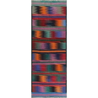 Sangat Kilim Adofo Blue/Purple Rug (4'7 x 12'4)