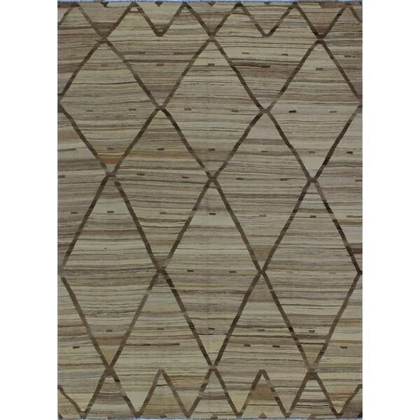 Noori Rug Winchester Kilim Afryea Beige/Brown Rug - 6'4 x 8'8