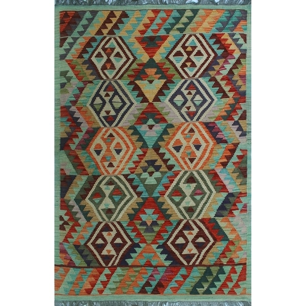 Shop Noori Rug Sangat Kilim Yoselin Green/Red Rug