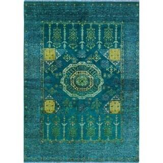 Baluchi Kesi Teal Green/Ivory Rug (5'9 x 7'11)