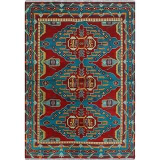 Noori Rug Balochi Elyse Red/Teal Blue Rug - 4'10 x 6'8