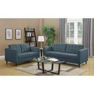 LYKE Home Leila Denim Blue Sofa and Loveseat Set