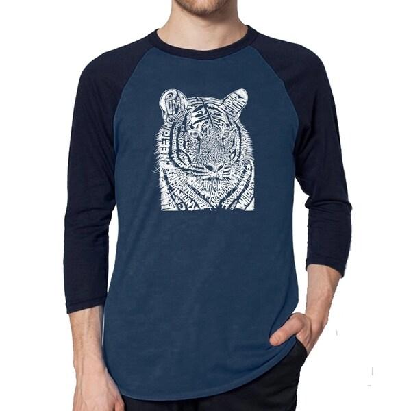 Los Angeles Pop Art Mens Raglan Baseball Word Art T-shirt - Big Cats