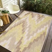 Carnival  Indoor-Outdoor Polypropylene Ivory Sand Green Rug - 8'2 x 10'
