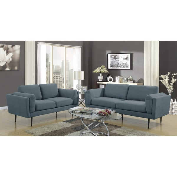 Shop Lyke Home Colby Denim Blue Sofa And Loveseat Set Free