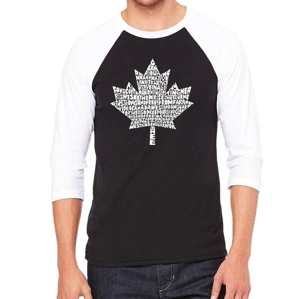 Los Angeles Pop Art Mens Raglan Baseball Word Art T-shirt - CANADIAN NATIONAL ANTHEM