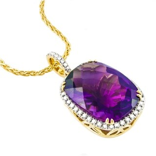 14k Yellow Gold 11 1/4ct T.W. Diamonds and Amethyst Necklace