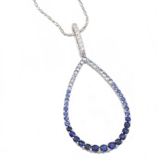 14k White Gold 1 2/5ct T.W. Diamonds and Blue Sapphires Necklace