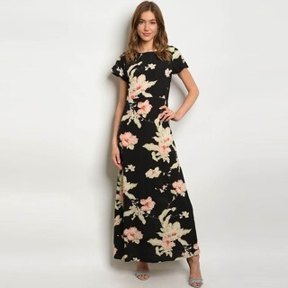 Shop The Trends Women's Short Sleeve High Neck Maxi Dress With Allover Floral Print