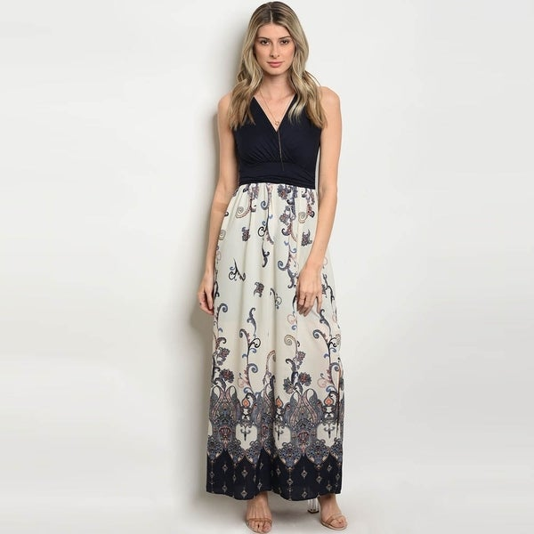 7a67daf660b28 Shop Shop The Trends Women's Sleeveless V-Neck Maxi Dress With ...