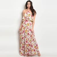 Shop The Trends Women's Sleeveless Halter Neck Maxi Dress With Allover Floral Print