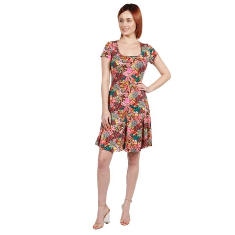 24/7 Comfort Apparel Margaret Pink Floral Fit and Flare Mini Dress