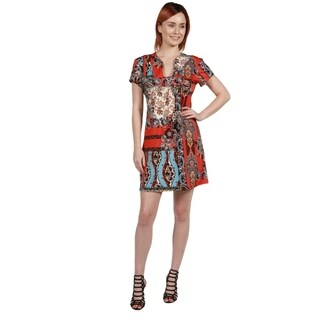 24/7 Comfort Apparel Cynthia Orange and Turquoise Mini Dress (5 options available)