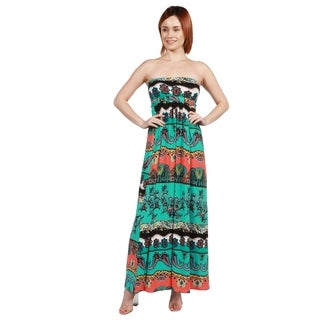 24/7 Comfort Apparel Bethany Strapless Green and Black Empire Waist Long Dress