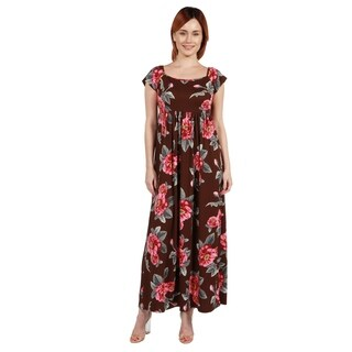 24/7 Comfort Apparel Brown and Pink Floral Empire Waist Long Dress