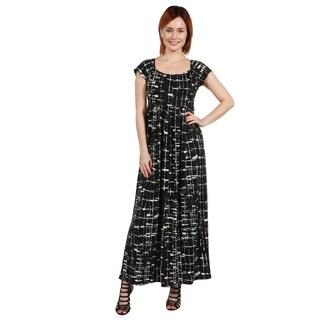 24/7 Comfort Apparel Deena Black and White Empire Waist Long Dress