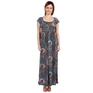 24/7 Comfort Apparel Emilia Blue Paisley Empire Waist Long Dress