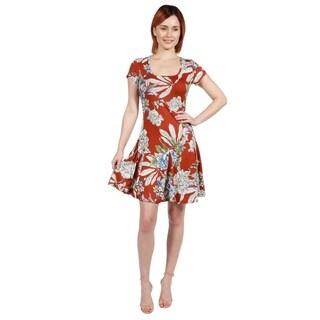 24/7 Comfort Apparel Lani Orange Short Sleeve Dress (5 options available)