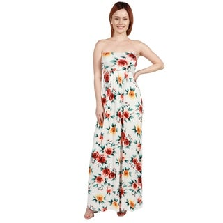 24/7 Comfort Apparel Lindsey Strapless White Floral Empire Waist Long Dress