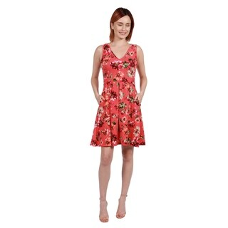 24/7 Comfort Apparel Coral Red and Pink Floral Mini Dress