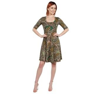 24/7 Comfort Apparel Lorna Green Paisley Dress