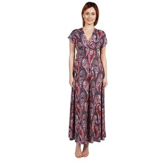 24/7 Comfort Apparel Constance Multicolor Paisley Empire Waist Long Dress