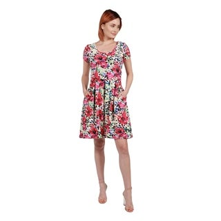 24/7 Comfort Apparel Laura Pink Floral Mini Dress