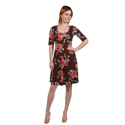 24/7 Comfort Apparel Gemma Brown Floral Fit and Flare Knee Length Dress