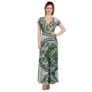 24/7 Comfort Apparel Lena Short Sleeve Green Print Empire Waist Long Dress