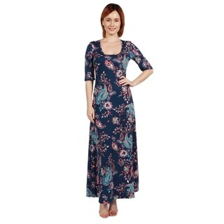 24/7 Comfort Apparel Katerina Aqua Swirl Long Dress