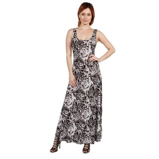 24/7 Comfort Apparel Magda Grey Floral Long Dress (2 options available)
