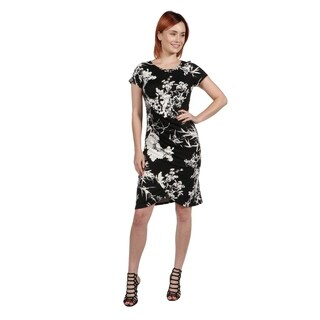 24Seven Comfort Apparel Diana Black and White Dress