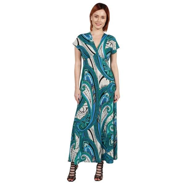 2d2f5449f5a 24 7 Comfort Apparel Dress Gisele Green and Blue Empire Waist Long Dress