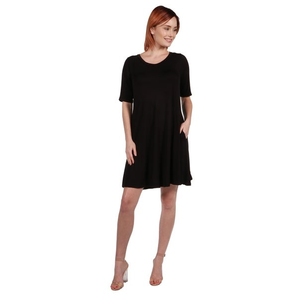 24/7 Comfort Apparel Pocket Mini Dress