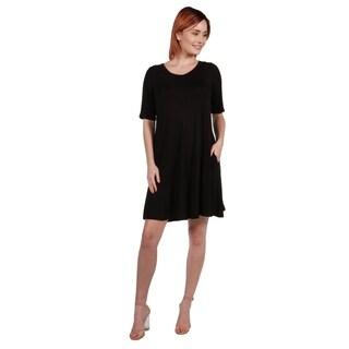 24/7 Comfort Apparel Pocket Mini Dress (More options available)