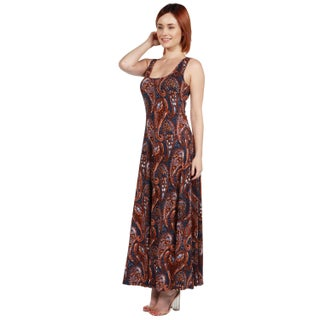 24/7 Comfort Apparel Annie Rust and Blue Print Long Dress (5 options available)